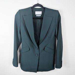The Fold London Green Button Front Blazer